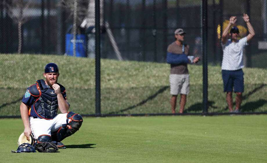 Houston Astros catcher Max Stassi (12) watches a bullpen session as the pitchers and catchers worked out during spring training at The Ballpark of the Palm Beaches, Thursday, Feb. 15, 2018, in West Palm Beach . Photo: Karen Warren, Houston Chronicle / © 2018 Houston Chronicle