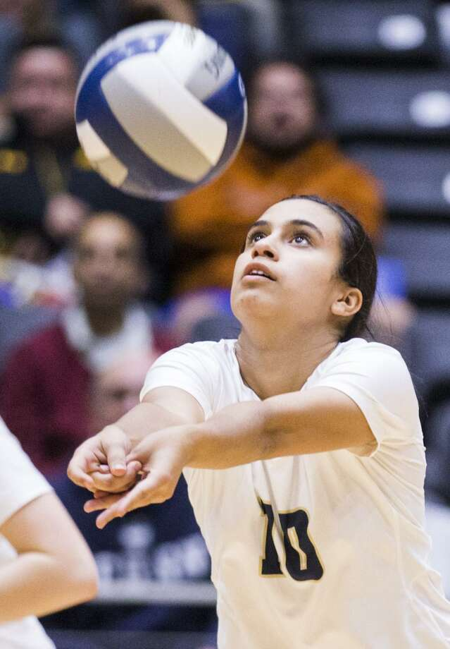 O'Connor's Terez Chavez (10) bumps the ball during a UIL Class 6A state semifinal match between O'Connor and Katy Seven Lakes on Thursday, November 16, 2017 at the Curtis Cullwell Center in Garland, Texas. (Ashley Landis/The Dallas Morning News) Photo: Ashley Landis, THE DALLAS MORNING NEWS / Staff Photographer / THE DALLAS MORNING NEWS