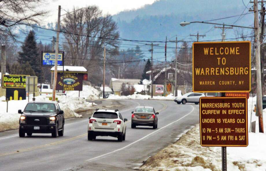 A Welcome to Warrensburg sign along Route 9, Thursday Feb. 15, 2018 in Warrensburg, NY.  (John Carl D'Annibale/Times Union) Photo: John Carl D'Annibale, Albany Times Union / 20042942A