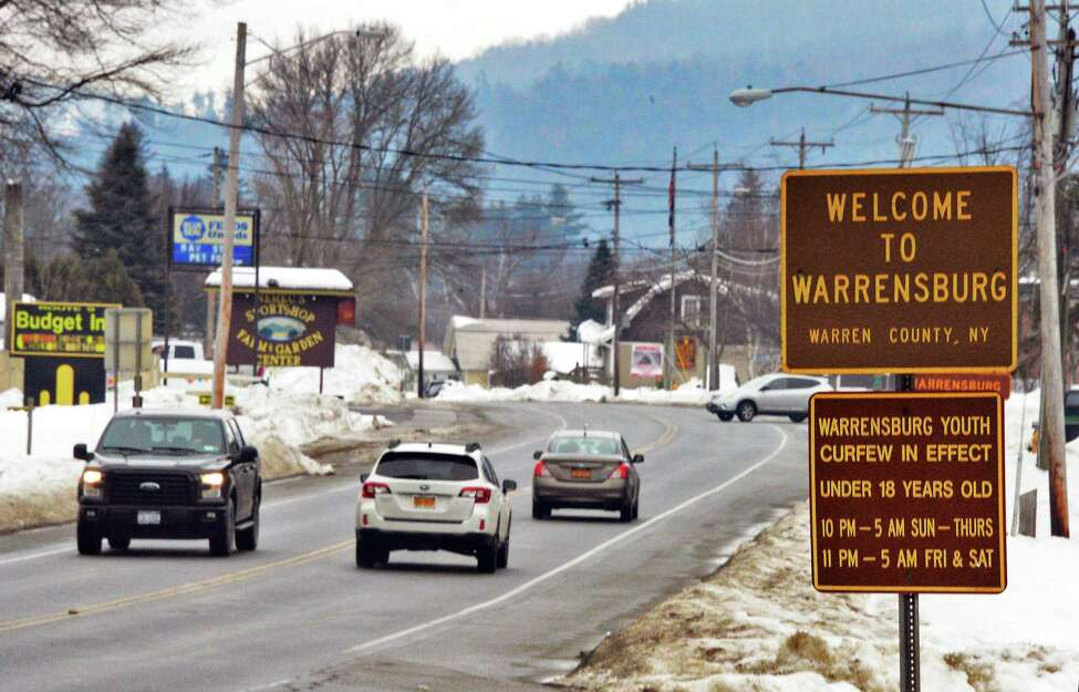 A Welcome to Warrensburg sign along Route 9, Thursday Feb. 15, 2018 in Warrensburg, NY. (John Carl D'Annibale/Times Union)
