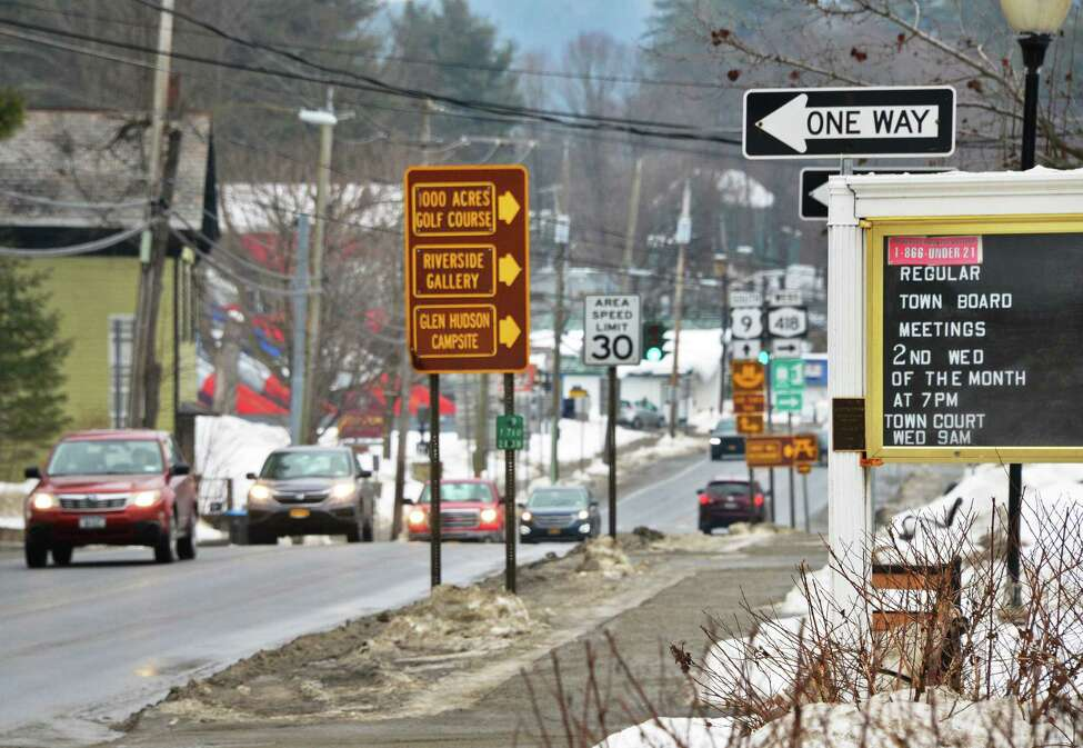 Traffic passes by Town Hall along Route 9, Thursday Feb. 15, 2018 in Warrensburg, NY. (John Carl D'Annibale/Times Union)