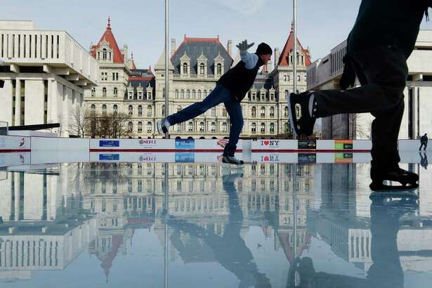 Andrew VanAcker of North Greenbush glides across the ice at the Empire State Plaza ice rink on Thursday, Feb. 15, 2018, in Albany, N.Y.    (Paul Buckowski/Times Union)