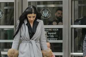 """The wife of """"El Chapo"""", Emma Coronel Aispuro, exits from the US Federal Courthouse in Brooklyn after a hearing in the case of Mexican drug lord Joaquin """"El Chapo"""" Guzman, on February 15, 2018, in New York. / AFP PHOTO / KENA BETANCUR        (Photo credit should read KENA BETANCUR/AFP/Getty Images)"""