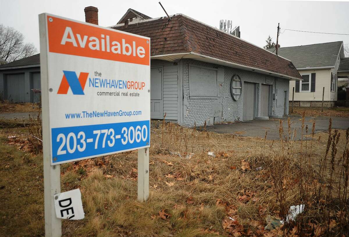 The vacant gas station property on East Main Street and adjacent house properties on Sidney Street are being considered for the construction of a self storage facility in Stratford, Conn. on Thursday, February 15, 2018.