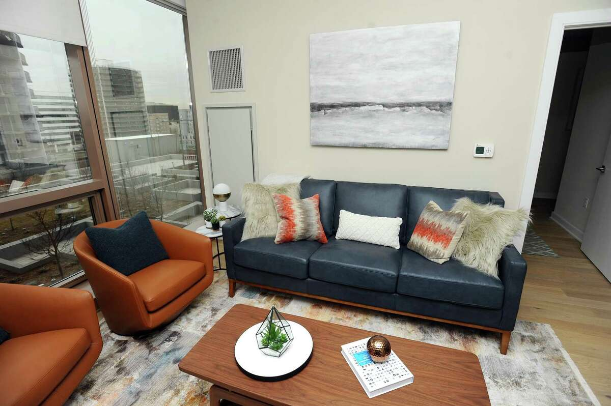 A living room in a two-bedroom, apartment inside Atlantic Station, the new 325-apartment building at the corner of Atlantic Street and Tresser Boulevard in downtown Stamford, Conn.