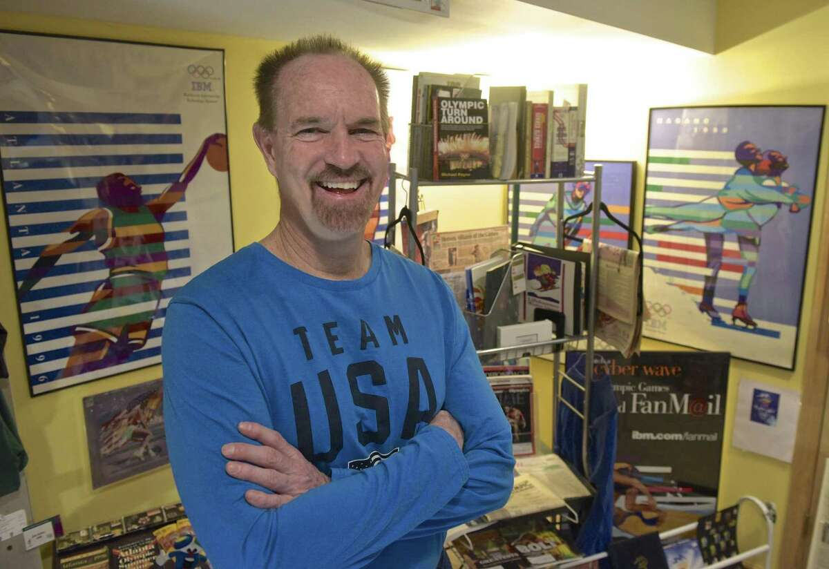 Jim Keller, of New Fairfield, has been collecting Olympic memorabilia since 1972. Wednesday, February 14, 2018, in New Fairfield, Conn.