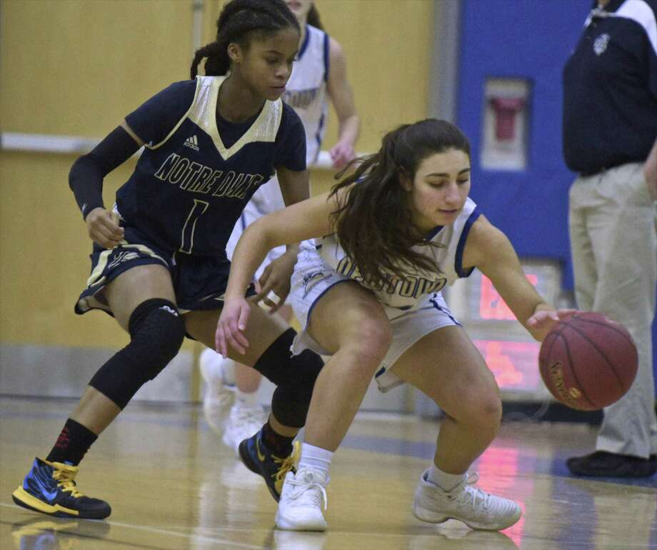 Notre Dame-Fairfield's Yamani McCollough, left, and her teammates open SWC tournament play Friday night against visiting Masuk. Photo: H John Voorhees III / Hearst Connecticut Media / The News-Times