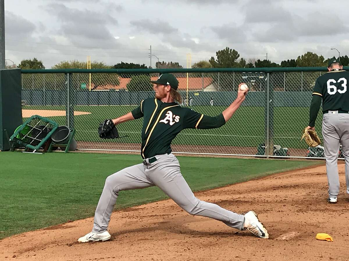 A's top prospect A.J. Puk threw his first official bullpen of the spring Thursday at Fitch Park.