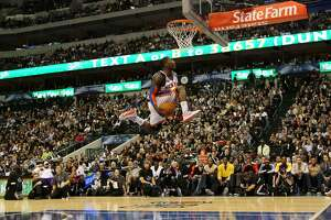 DALLAS - FEBRUARY 13:  Nate Robinson #2 of the New York Knicks attempts to dunk during the Sprite Slam Dunk Contest on All-Star Saturday Night, part of 2010 NBA All-Star Weekend at American Airlines Center on February 13, 2010 in Dallas, Texas. NOTE TO USER: User expressly acknowledges and agrees that, by downloading and or using this photograph, User is consenting to the terms and conditions of the Getty Images License Agreement.  (Photo by Jed Jacobsohn/Getty Images)