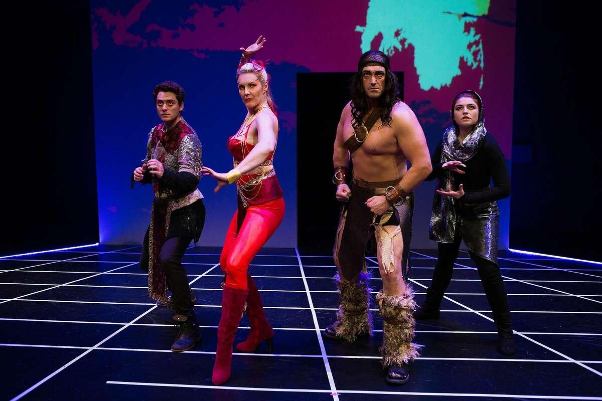 "The in-game avatars of Trent (Devin O�Brien), Morwyn (Annemaria Rajala), Feldrick (Tyler McKenna) and Katja (Emily Radosevich) in San Francisco Playhouse's ""Non-Player Character."""