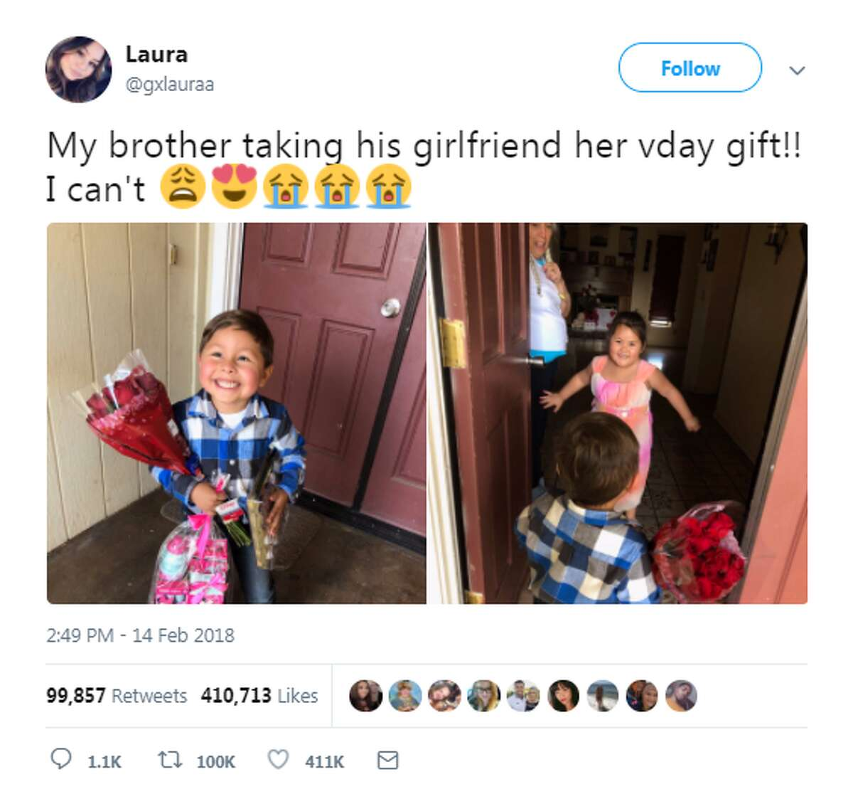 Twitter user @gxlaura tweeted photos of her little brother surprising his Valentine with roses and gifts. See the post here.