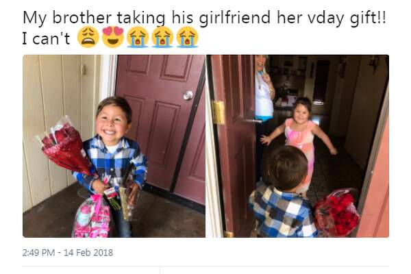 Twitter user @gxlaura tweeted photos of her little brother surprising his Valentine with roses and gifts.