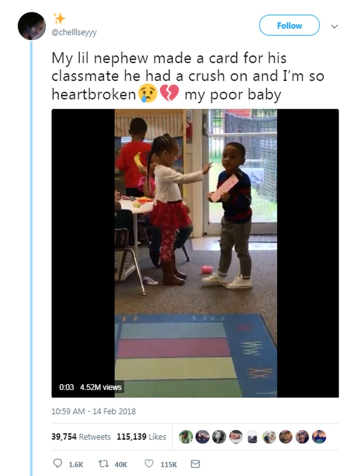 Twitter user @chelllseyyy, from Missouri City, tweeted a video of her nephew offering his crush a handmade card and getting rejected. In a follow-up tweet, the little boy said