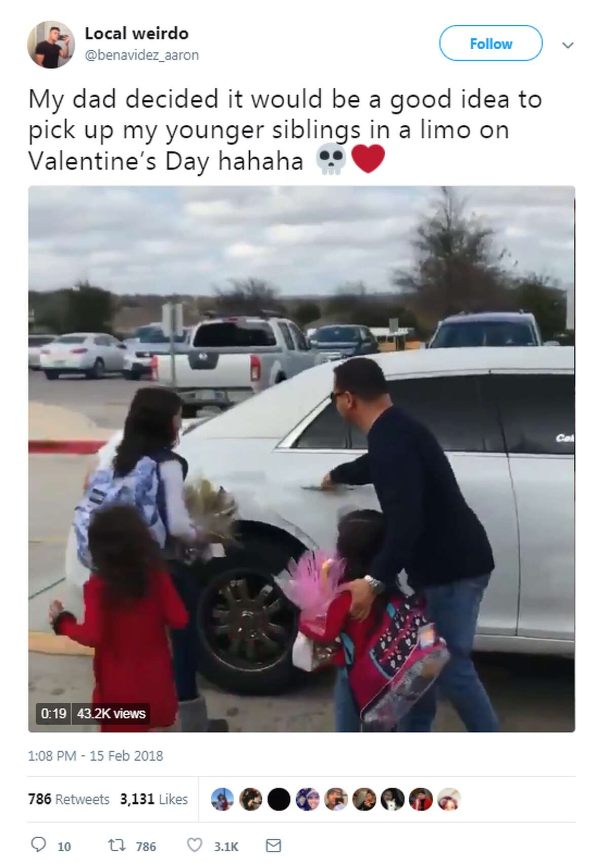 Twitter user @benavidez_aaron, from San Antonio, tweeted a video of his dad picking up his three little sisters from school on Valentine's Day. See the post here.