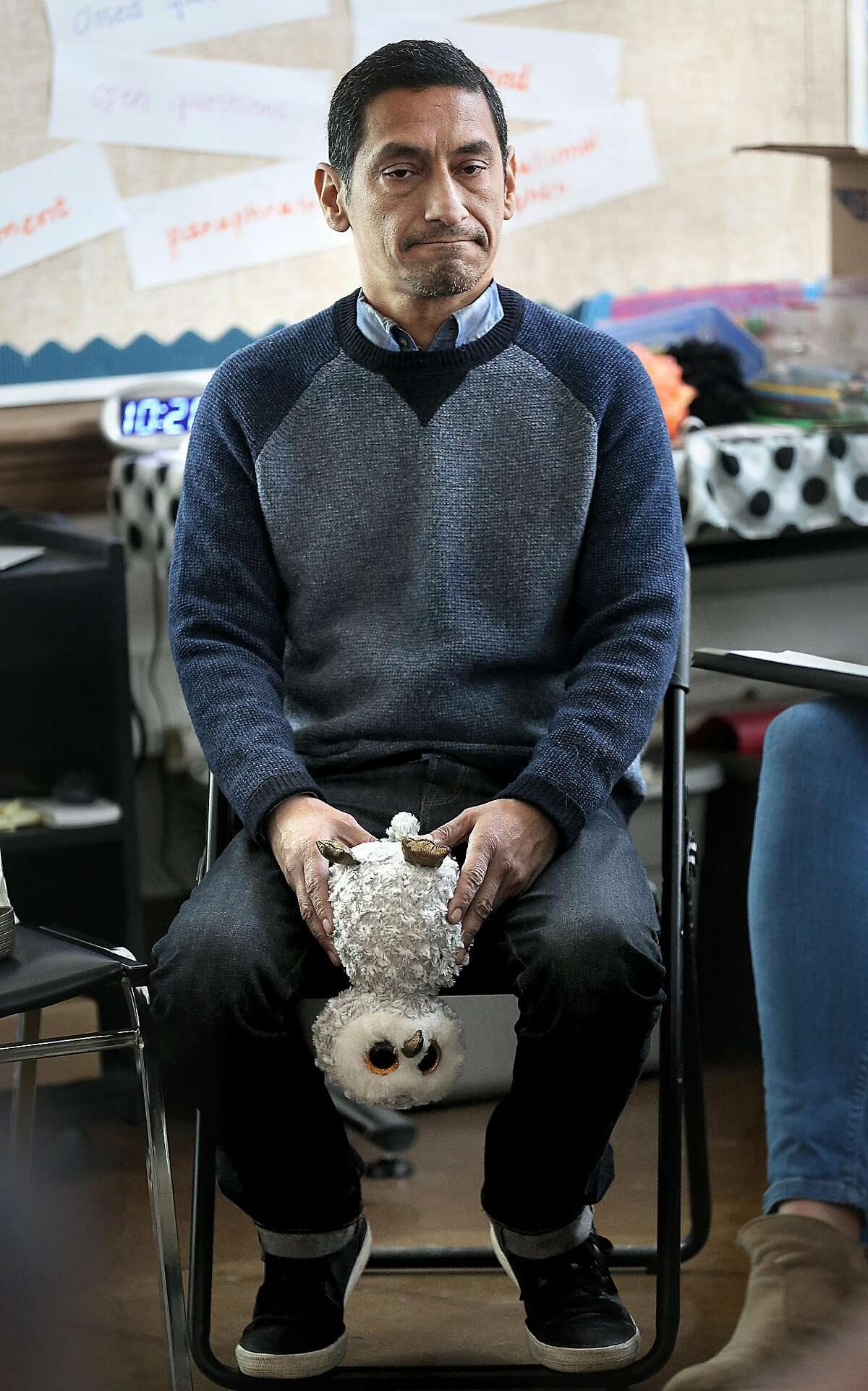 Teacher Gary Cruz talks with seventh graders in a peer resources class at Everett Middle School about the Florida high school shooting on Thursday, February 15, 2018, in San Francisco, Ca.