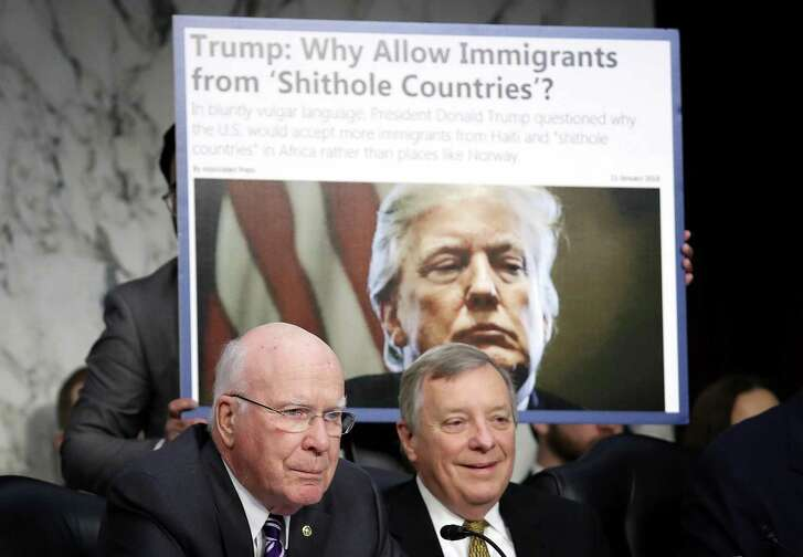 Democratic Sens. Richard Durbin and Patrick Leahy at a hearing questioning Homeland Security Secretary Kirstjen Nielsen Jan. 16. Restricting immigration has become a core Republican issue and President Trump, by injecting bigotry, is dragging the GOP along.