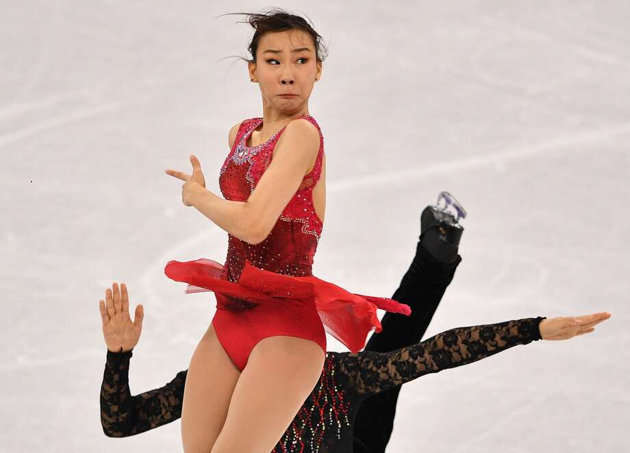 See the hilarious faces Olympic athletes make while competing for gold.South Korea's Kim Kyueun and South Korea's Alex Kang Chan Kam compete in the pair skating short program of the figure skating event during the Pyeongchang 2018 Winter Olympic Games at the Gangneung Ice Arena in Gangneung on February 14, 2018. Photo: MLADEN ANTONOV/AFP/Getty Images