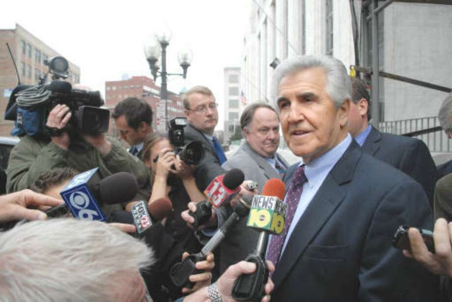 Ex-state Sen. Joseph L. Bruno talks frequently with the media during breaks in his corruption trial. He spoke to a radio talk show on Wednesday, a day off from the trial due to Veterans Day. (Paul Buckowski / Times Union)
