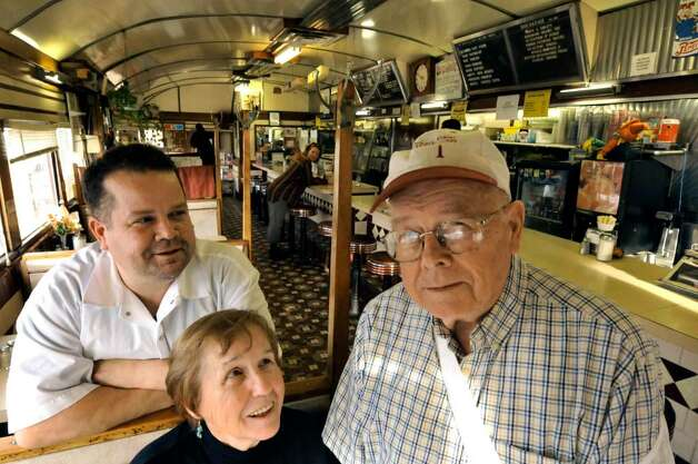 The Browns of the Miss Albany Diner Cliff Brown, right, Jane Brown,center, and their son Bill Brown at the historic diner in Albany, New York 11/11/2009. The classic eatery is up for sale. (Michael P. Farrell/Albany Times Union) Photo: MICHAEL P. FARRELL