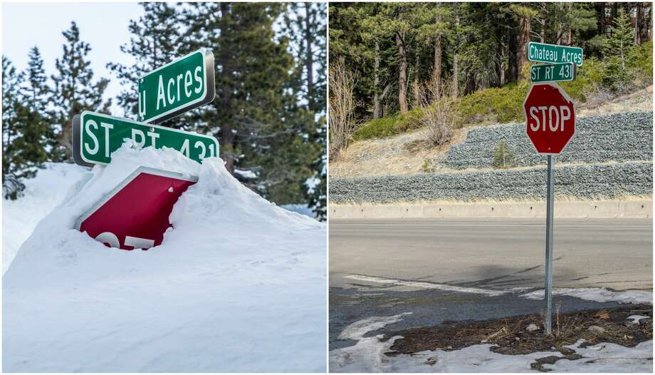 Left: A photo of an Incline Village stop sign in February 2017 shows snow piled up amid a winter marked by potent storms.Right: The photo on the right shows the same location in February 2018 amid a year marked by low snowfall. Photo: Martin Gollery