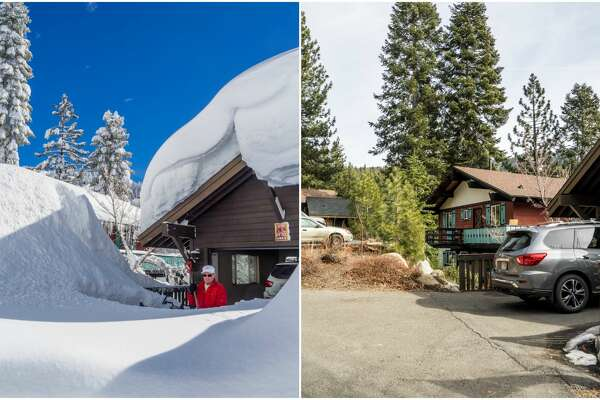 Left: A photo of a home in Incline Village in north Tahoe in February 2017 shows snow piled up amid a winter marked by potent storms.  Right: The photo on the right shows the same home in February 2018 amid a year marked by low snowfall.