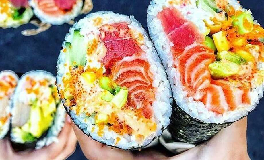 A sushi burrito from Hula Poke, a new restaurant located at 7315 San Pedro Ave. Photo: Courtesy Bin Lu