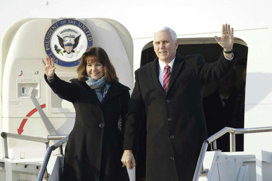 U.S. Vice President Mike Pence and Second Lady Karen Pence, seen arriving in South Korea for the Olympics on Feb. 8, will be in San Antonio on Friday. Pence will deliver keynote remarks at a Republican National Committee donor luncheon while his wife is scheduled to visit Methodist Children's Hospital to tour the art therapy program there. Photo: Ryu Seung-il /Bloomberg / © 2018 Bloomberg Finance LP