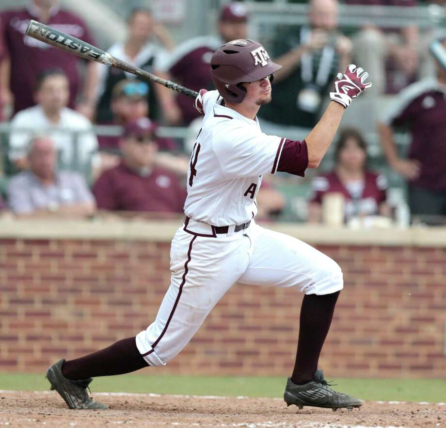 Texas A&M infielder George Janca (44) hits an RBI single off Davidson pitcher Westin Whitmire to score Texas A&M infielder Braden Shewmake for a 7-6 win in 15 innings during the NCAA baseball Super Regional at Olsen Field at Blue Bell Park on Friday, June 9, 2017, in College Station. ( Brett Coomer / Houston Chronicle ) Photo: Brett Coomer, Staff / © 2017 Houston Chronicle