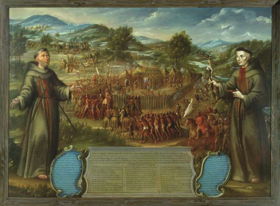 "José de Páez' oil painting ""El martirio de los franciscanos en la Misión de San Sabá"" (""Martyrdom of Franciscans at Mission San Sabá""), painted around 1765, depicts a violent attack on a mission about 130 miles north of San Antonio that took place in 1758. The two monks in the foreground were murdered. Photo: Courtesy Photo"