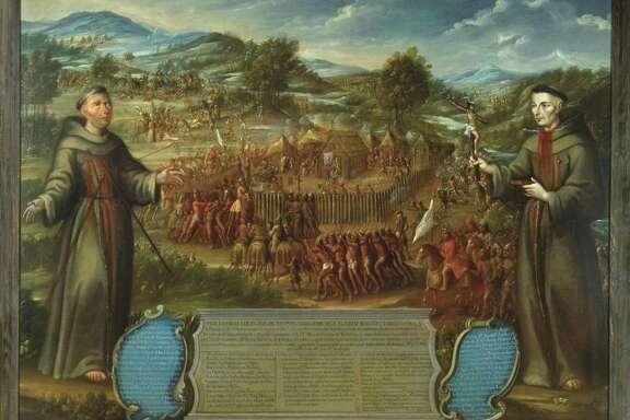 "José de Páez' oil painting ""El martirio de los franciscanos en la Misión de San Sabá"" (""Martyrdom of Franciscans at Mission San Sabá""), painted around 1765, depicts a violent attack on a mission about 130 miles north of San Antonio that took place in 1758. The two monks in the foreground were murdered."