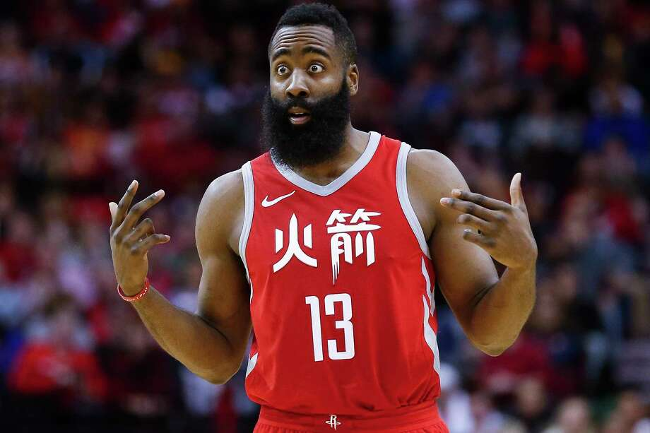 Houston Rockets Guard James Harden  Reacts During A Free Throw As The Houston