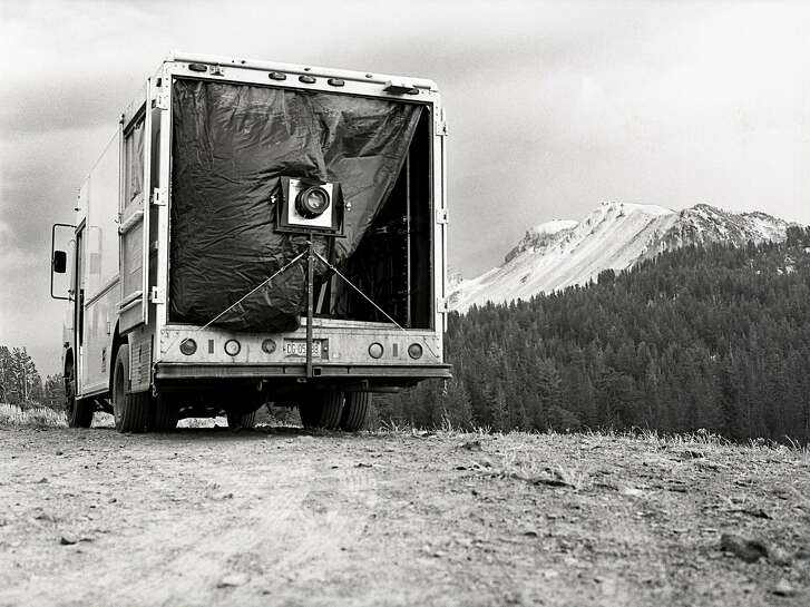 "Ian Ruhter uses a camera truck, pictured here in the Sierra Nevada Mountains, to make large-scale images on glass and aluminum sheets. Ruhter's work is on view in ""Perfect Imperfections"" at Art Ventures Gallery in Melo Park through March 14.   Photo: Ian Ruhter"