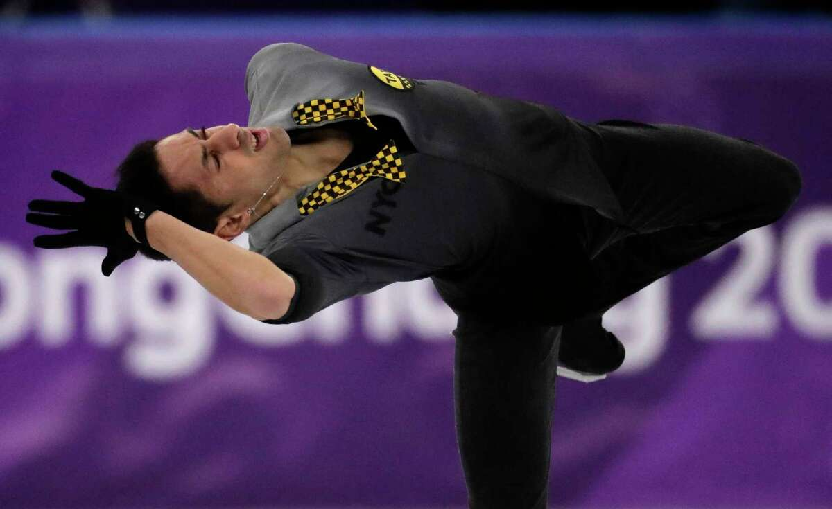 Chafik Besseghier of France performs during the men's short program figure skating in the Gangneung Ice Arena at the 2018 Winter Olympics in Gangneung, South Korea, Friday, Feb. 16, 2018.