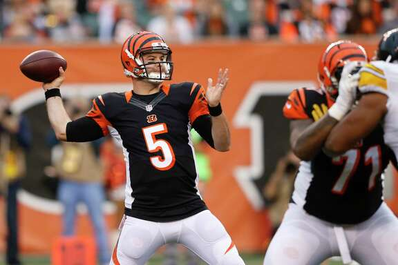 Cincinnati Bengals quarterback AJ McCarron (5) throws in the second half of an NFL football game against the Pittsburgh Steelers, Sunday, Dec. 13, 2015, in Cincinnati. (AP Photo/Gary Landers)