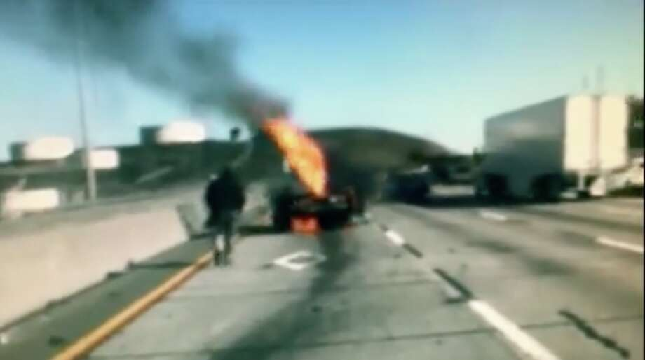 A man was pulled from the wreckage of his burning car on Thursday, the California Highway Patrol said. Photo: CHP