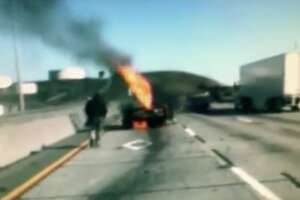 A man was pulled from the wreckage of his burning car on Thursday, the California Highway Patrol said.