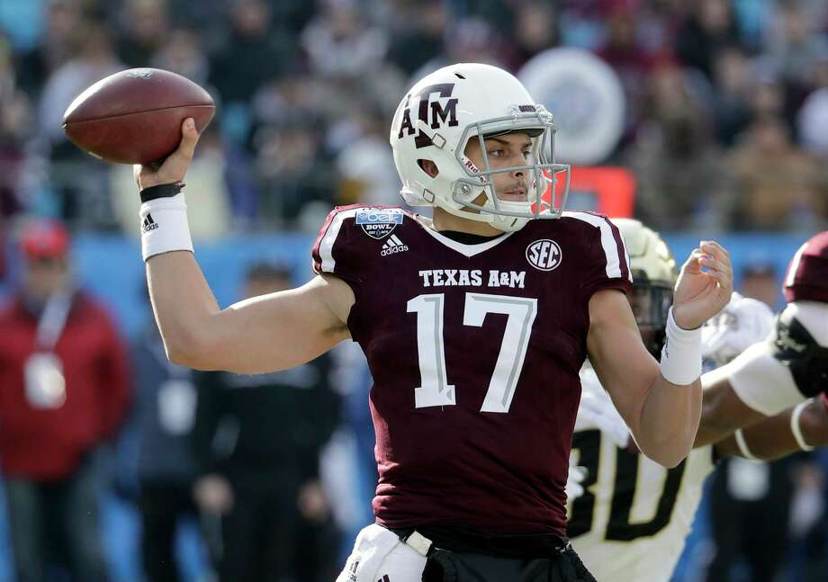 Aggies quarterback Nick Starkel threw for 499 yards against Wake Forest in Texas A&M's 55-52 loss in the Belk Bowl last season, the second most passing yards in school history. Photo: Chuck Burton, STF / Copyright 2017 The Associated Press. All rights reserved.