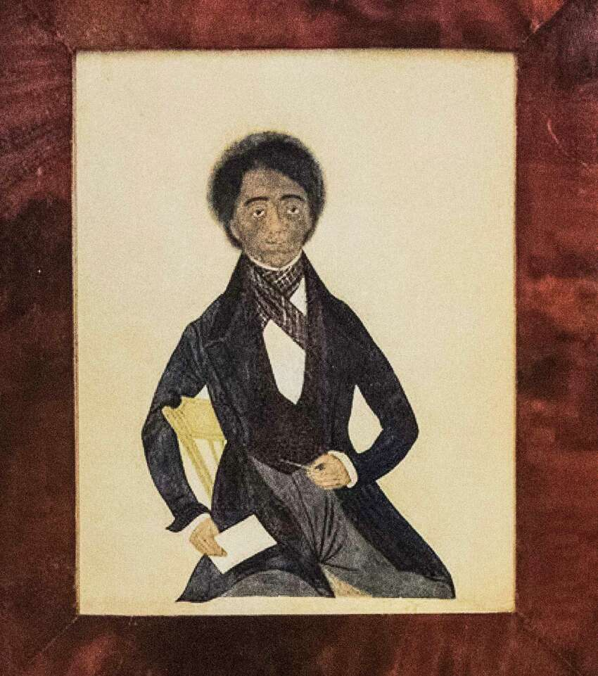 A photo of the artwork the Rensselaer County Historical Society is trying to purchase of Peter F. Baltimore, father of Garnet Douglass Baltimore, first African American graduate of RPI and city engineer on Wednesday Feb. 14, 2018, in Troy, N.Y. (Skip Dickstein/Times Union)