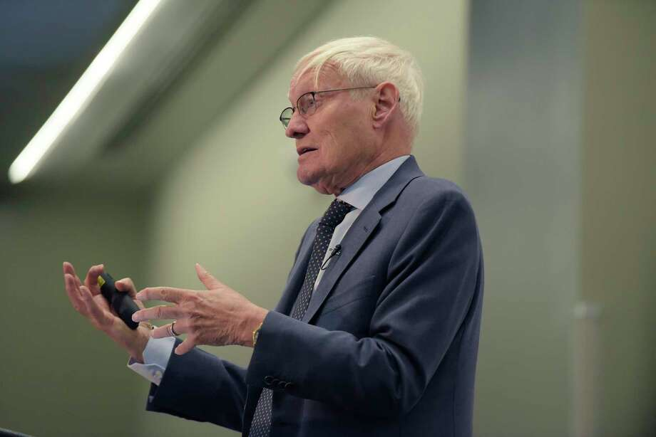 Joachim Frank, a Columbia University professor who won the nobel prize in chemistry last year, discusses his work during an event at the Albany Capital Center on Thursday, Feb. 15, 2018, in Albany, N.Y.  Frank at one time was a scientist at the state's Wadsworth Center in Albany.  (Paul Buckowski/Times Union) Photo: PAUL BUCKOWSKI / (Paul Buckowski/Times Union)