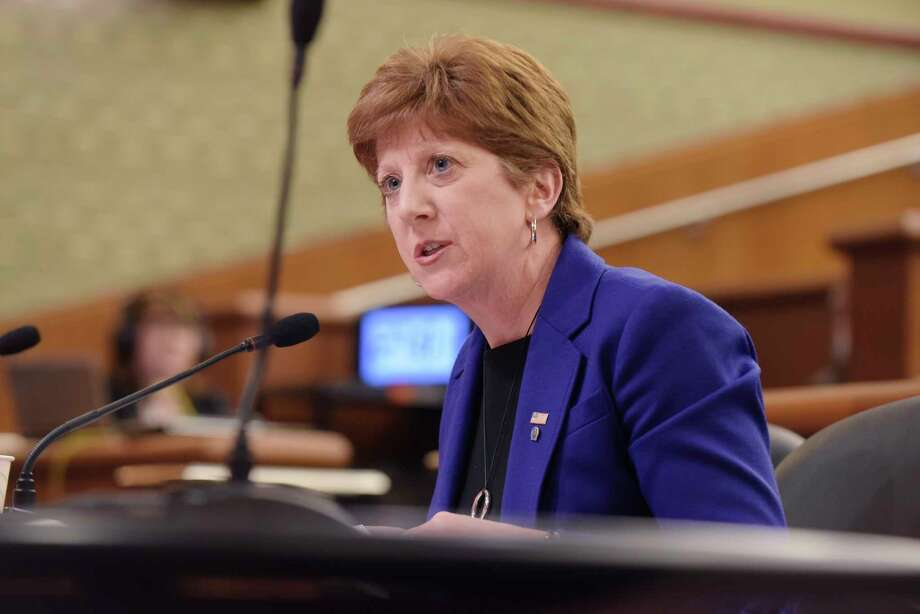 Albany Mayor Kathy Sheehan testifies at a New York State Legislature joint budget hearing dealing with funding for cities on Monday, Feb. 5, 2018, in Albany, N.Y.   (Paul Buckowski/Times Union) Photo: PAUL BUCKOWSKI / (Paul Buckowski/Times Union)