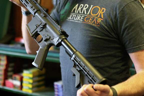 An AR-15 semi-automatic rifle like this was used in the high school massacre in Parkland, Fla. Congress has yet to pass any viable gun control measures.