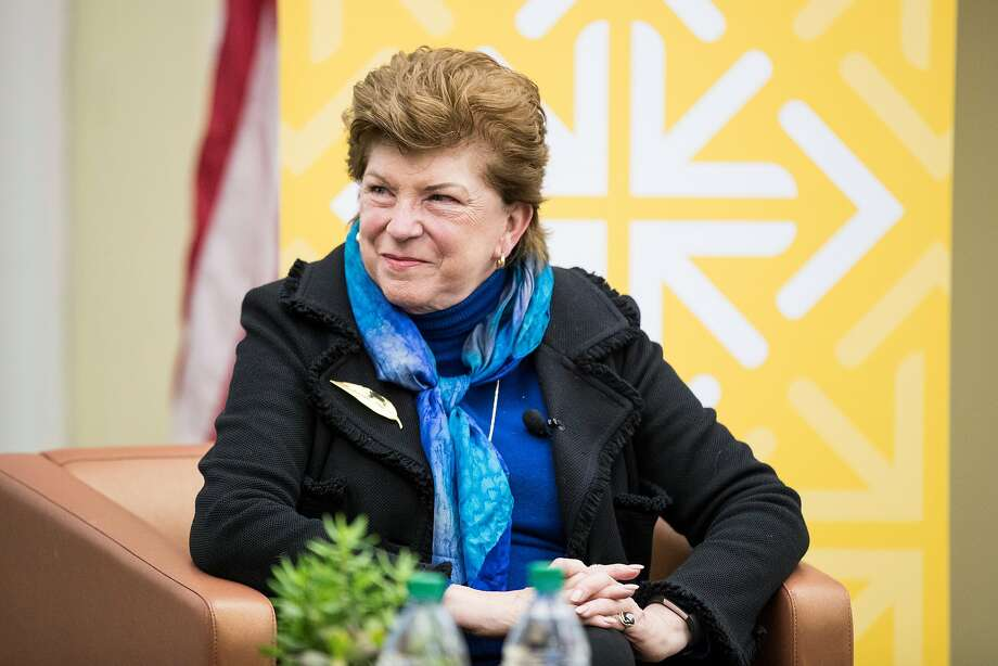 "California gubernatorial candidate Delaine Eastin, a former California State Superintendent of Public Instruction, listens as she is introduced while participating in the forum series ""The Second Most Important Job in America"" at the University of San Francisco on Thursday. Carla Marinucci, POLITICO's California Playbook reporter, moderated the forum. Photo: Laura Morton, Special To The Chronicle"
