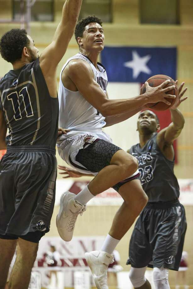 Texas A& International University Xabier Gomez goes for a lay in during game against Arkansas Fort Smith University on Thursday, Feb. 15, 2018 at the TAMIU KCB. Photo: Danny Zaragoza / Laredo Morning Times File