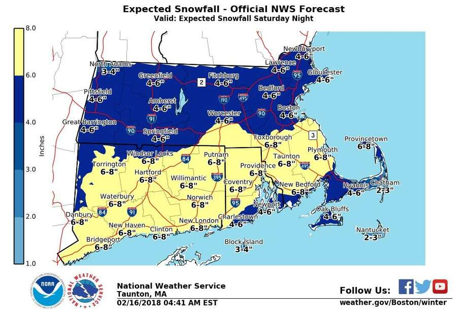 Nws Ups Snowfall Totals Winter Storm Watch Posted Connecticut Post