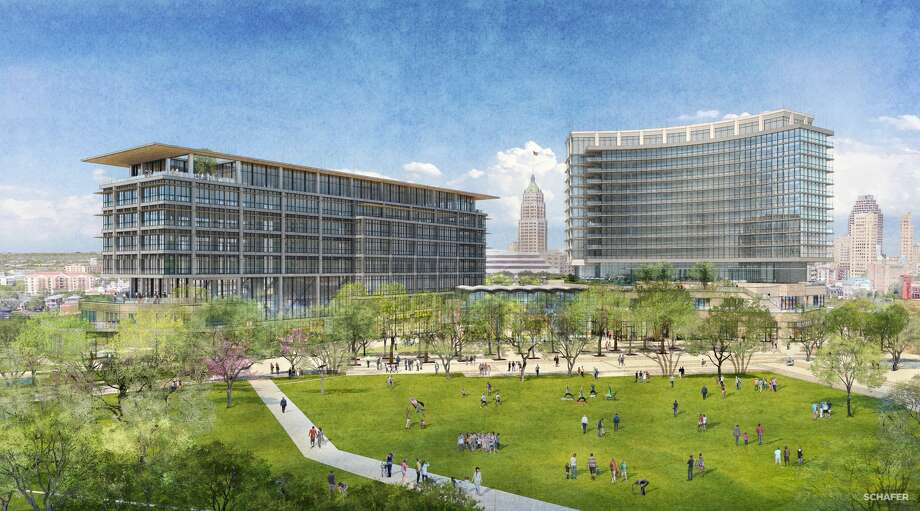 Renderings show San Antonio developer Zachary Corp.'s first designs for a $200 million mixed-use project at the Hemisfair. Photo: Courtesy, Zachry