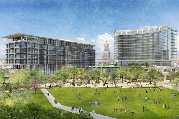 Renderings show San Antonio developer Zachary Corp.'s first designs for a $200 million mixed-use project at the Hemisfair.