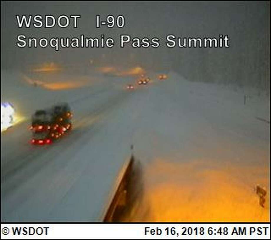 Snowy conditions closed eastbound I-90 at Snoqualmie Pass Friday morning. Photo: WSDOT