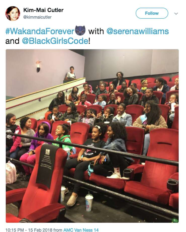 "A photo of a Fb. 15 screening of superhero film ""Black Panther"" at AMC Van Ness in San Francisco was shared on Twitter by Tech crunch reporter Kim-Mai Cutler. Serena Williams attended the screening. Photo: Twitter Screen Grab / @kimmaicutler"