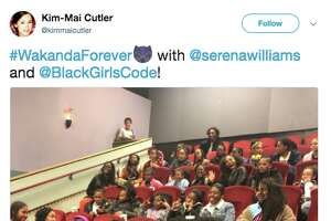 """A photo of a Fb. 15 screening of superhero film """"Black Panther"""" at AMC Van Ness in San Francisco was  shared on Twitter  by Tech crunch reporter Kim-Mai Cutler. Serena Williams attended the screening."""