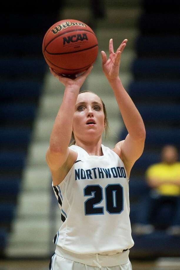 Northwood's Lindsay Orwat takes a free throw during the Timberwolves' game against Lake Superior State on Saturday at Northwood University. (Katy Kildee/kkildee@mdn.net)